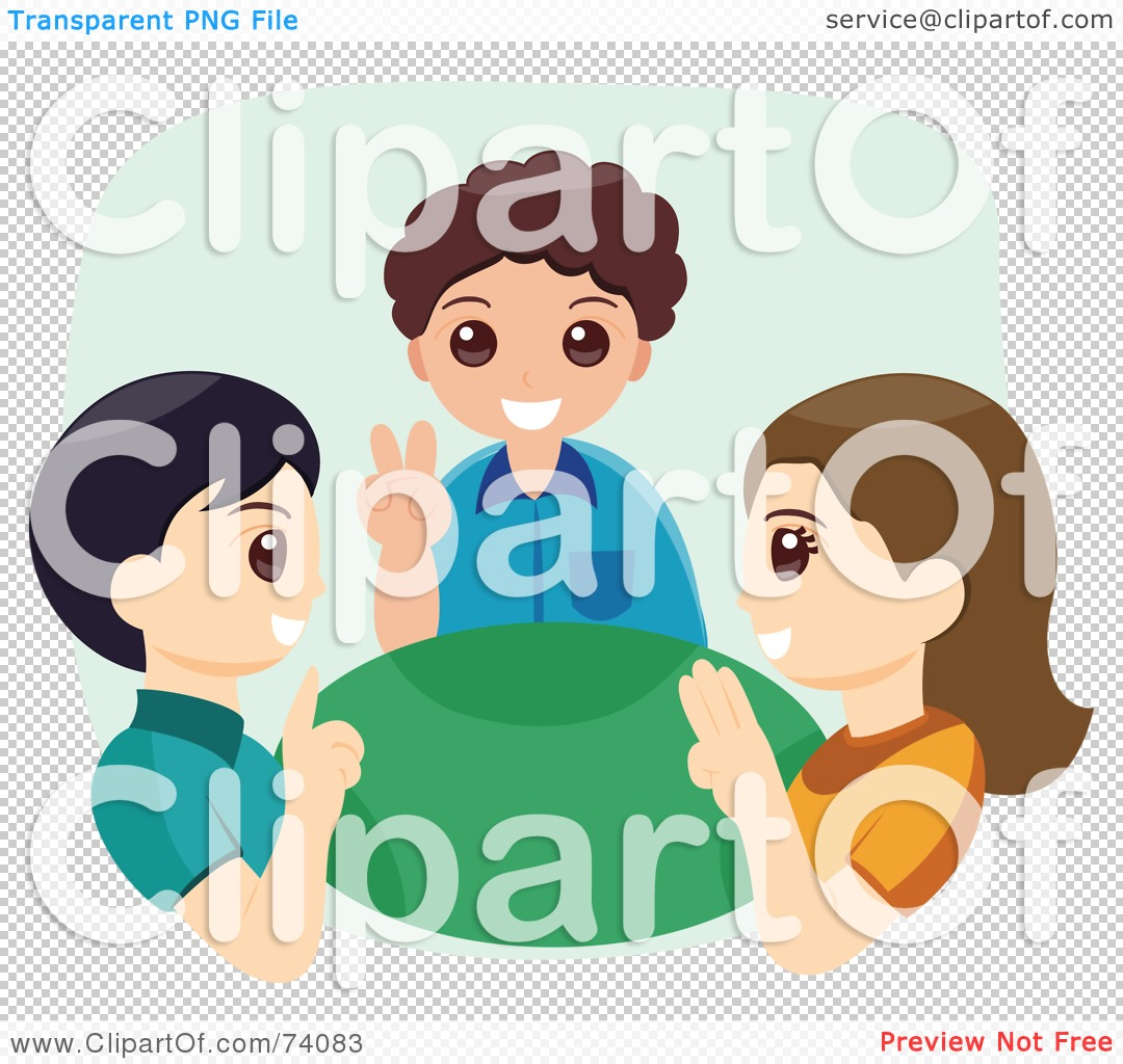 Sign language clipart free freeuse download Royalty-Free (RF) Clipart Illustration of Three Children Using ... freeuse download