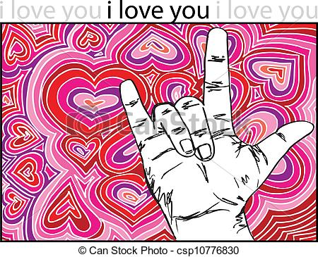 Sign language clipart i love png royalty free library Vectors of sign language for I LOVE YOU with abstract hearts ... png royalty free library