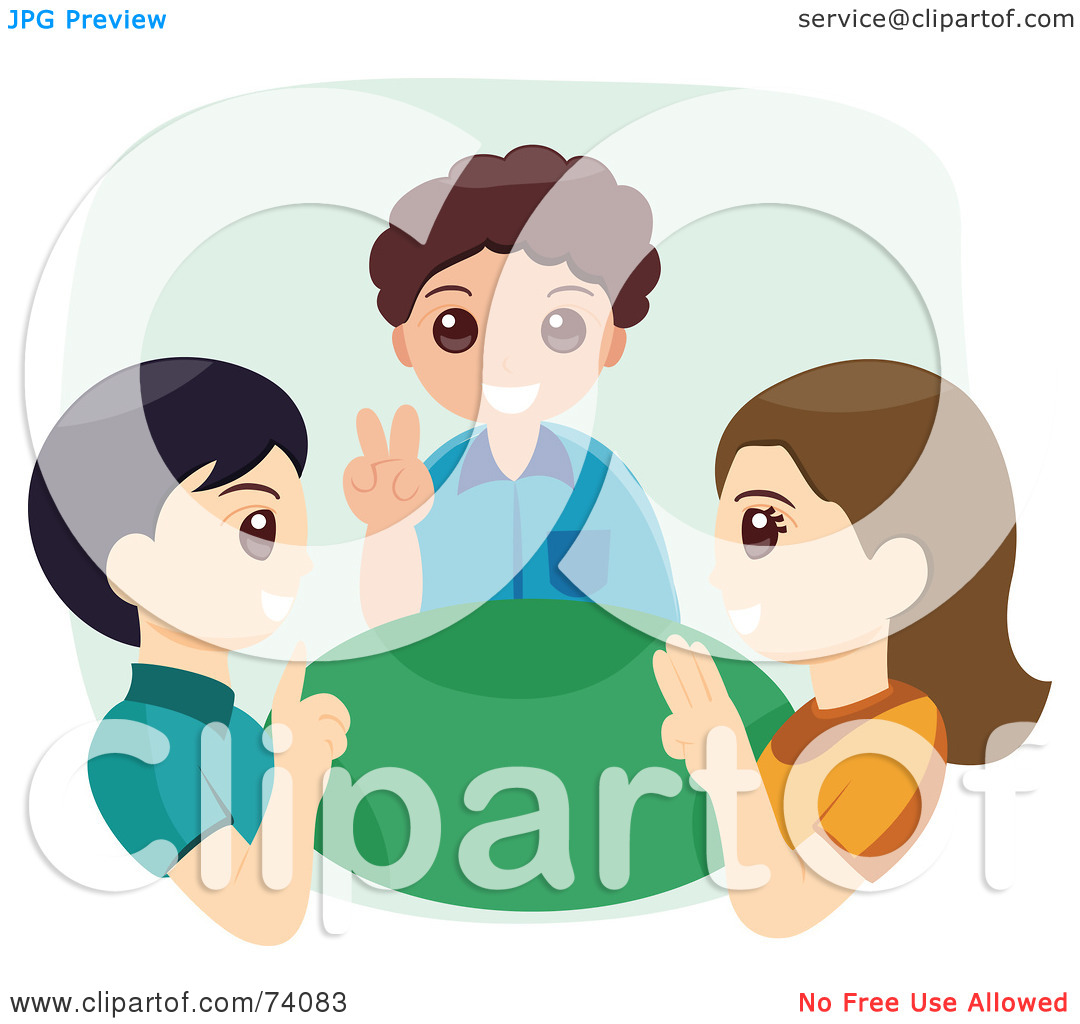 Sign language clipart kids image black and white stock Royalty-Free (RF) Clipart Illustration of Three Children Using ... image black and white stock