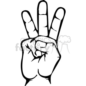Sign language clipart letter 0 banner black and white Royalty-Free sign language letter W 167511 vector clip art image ... banner black and white
