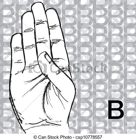 Sign language clipart letter b clip free library Clipart Vector of Hand Gestures, Letter B - Sketch of Sign ... clip free library