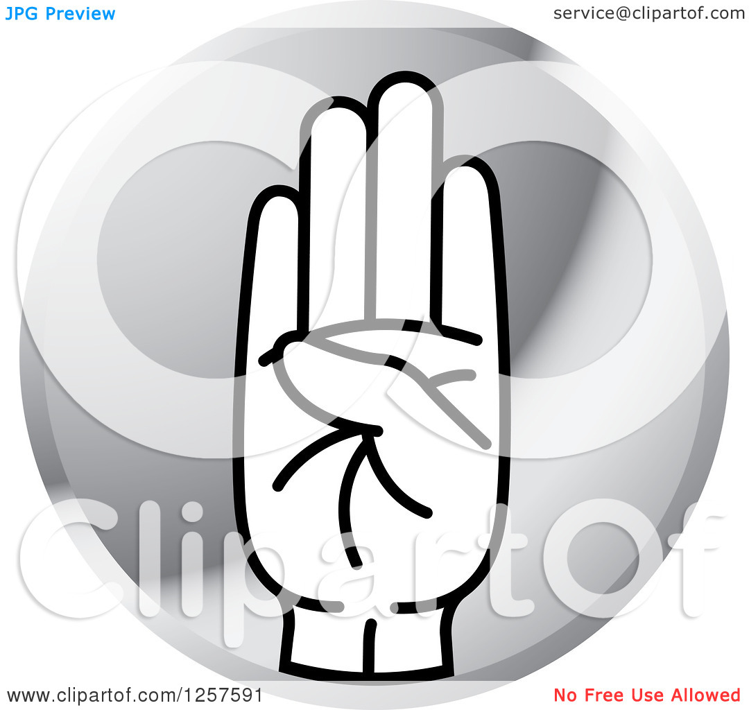 Sign language clipart letter b free download Clipart of a Silver Icon of a Sign Language Hand Gesturing Letter ... free download