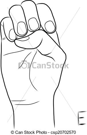 Sign language clipart letter e vector black and white download Vectors Illustration of Sign language and the alphabet,The Letter ... vector black and white download