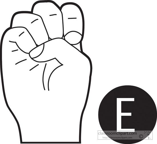 Sign language clipart letter e clipart royalty free library American Sign Language : sign-language-letter-e-outline ... clipart royalty free library