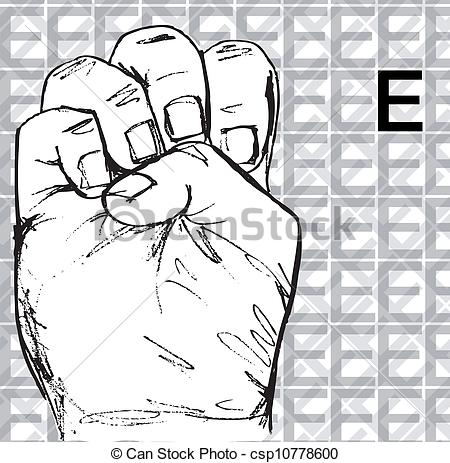 Sign language clipart letter e clip royalty free Vector Clipart of Hand Gestures, Letter E - Sketch of Sign ... clip royalty free