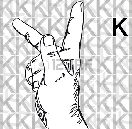 Sign language clipart letter k picture royalty free library Sketch Of Sign Language Hand Gestures, Letter K. Vector ... picture royalty free library