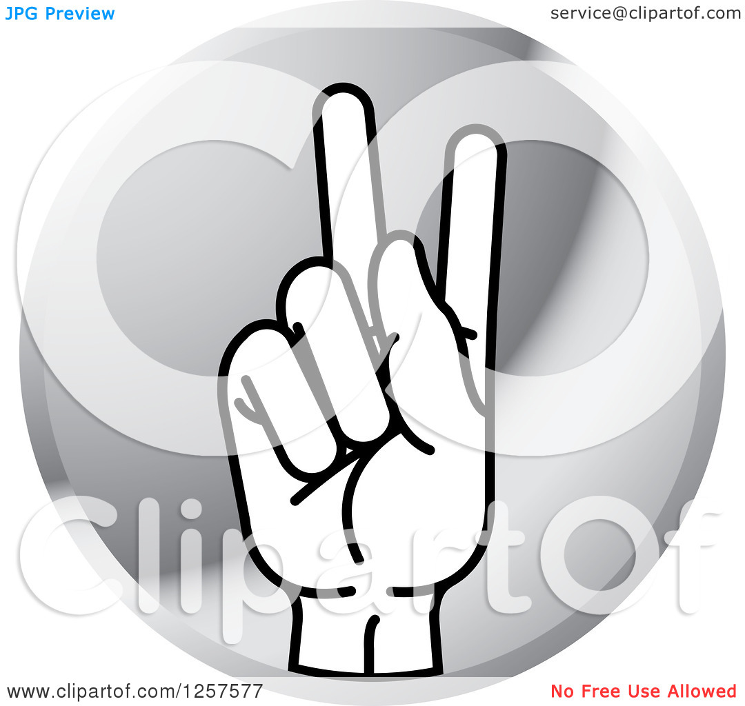 Sign language clipart letter k png royalty free download Clipart of a Silver Icon of a Sign Language Hand Gesturing Letter ... png royalty free download