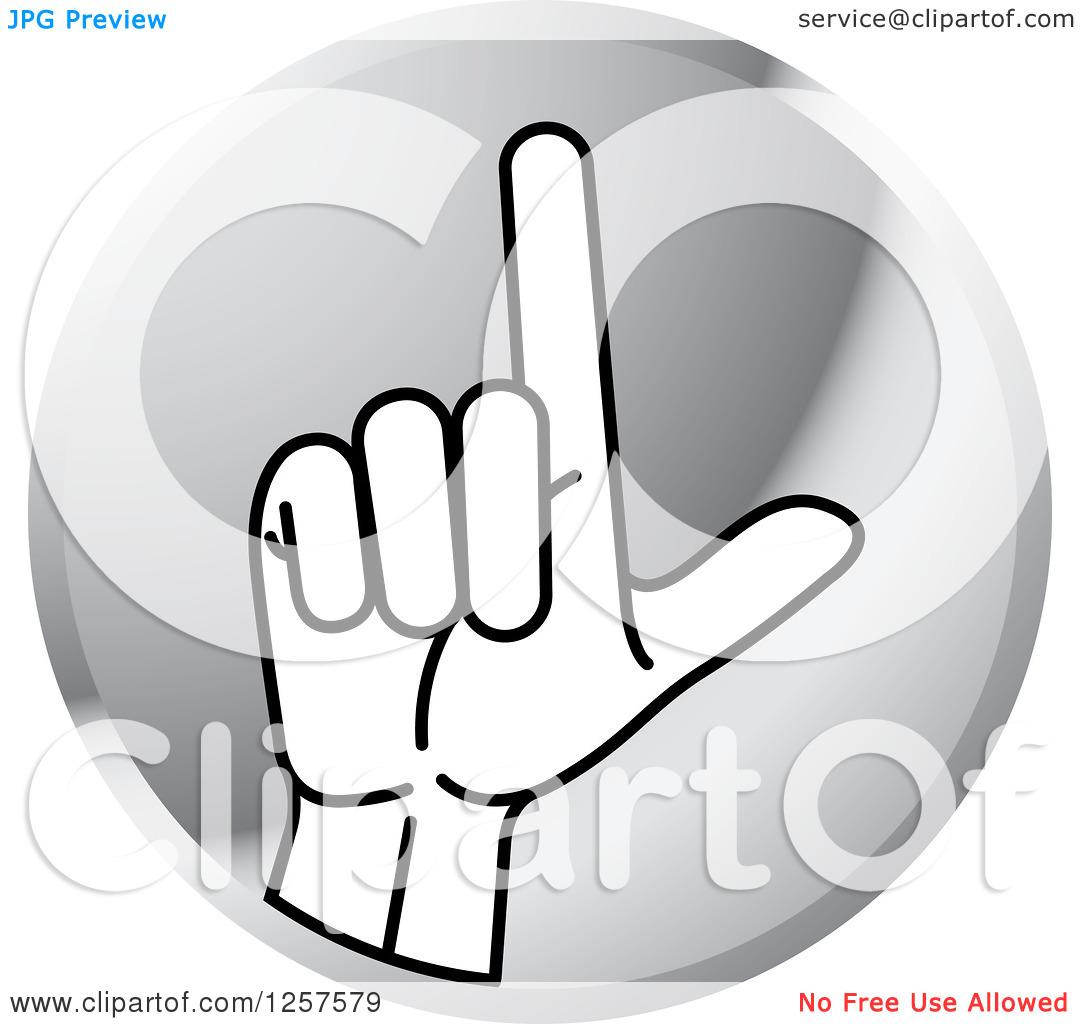 Sign language clipart letter l clip black and white Clipart of a Silver Icon of a Sign Language Hand Gesturing Letter ... clip black and white
