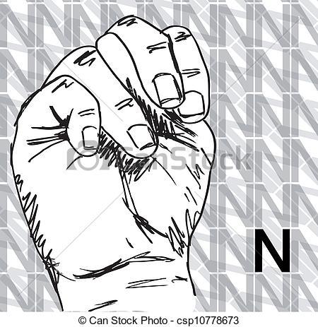 Sign language clipart letter n banner Vectors Illustration of Hand Gestures, Letter N - Sketch of Sign ... banner