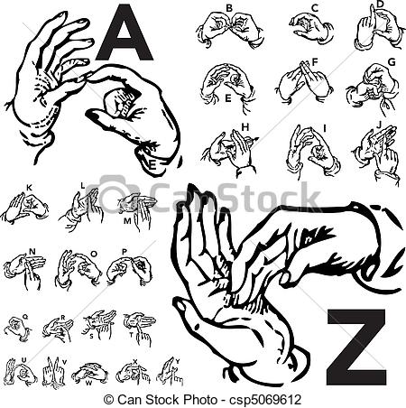 Sign language clipart letter o banner stock Vector Illustration of Vector Set of Sign Language Letters - Set ... banner stock