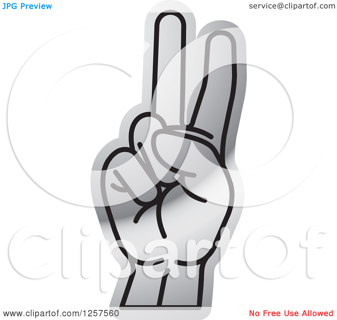 Sign language clipart letter v clip free stock Clipart of a Silver Sign Language Hand Gesturing Letter V ... clip free stock