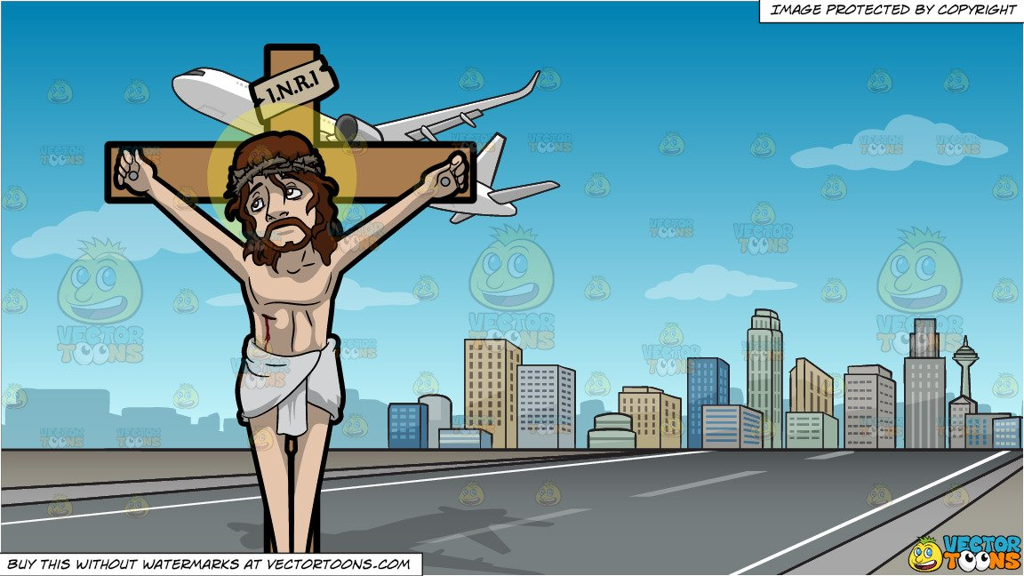 Sign on cross above jesus head clipart stock Jesus Nailed On The Cross and Airplane Taking Off Background stock