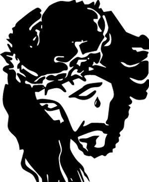 Sign on cross above jesus head clipart clipart black and white jesus christ looking up with halo on head and tear in eye ... clipart black and white