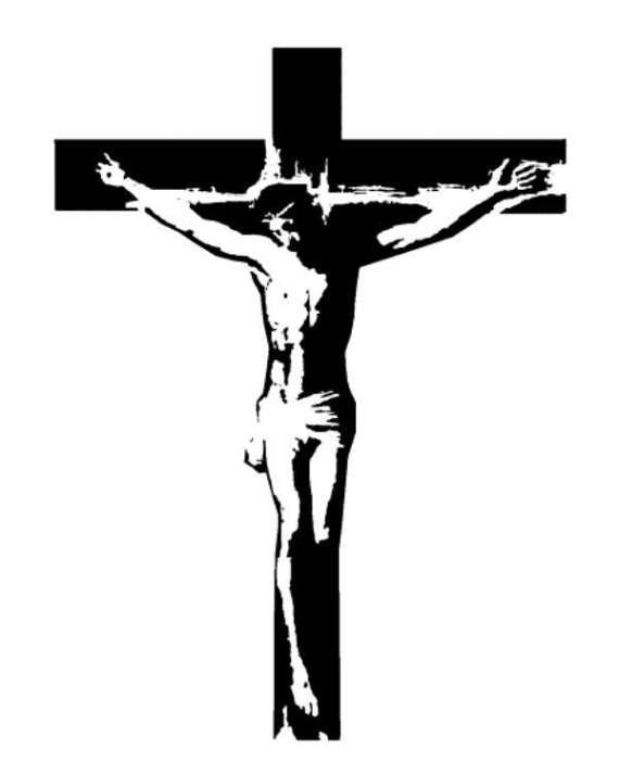 Sign on cross above jesus head clipart graphic library Crucifix Jesus on the Cross Stamp Catholic by ... graphic library