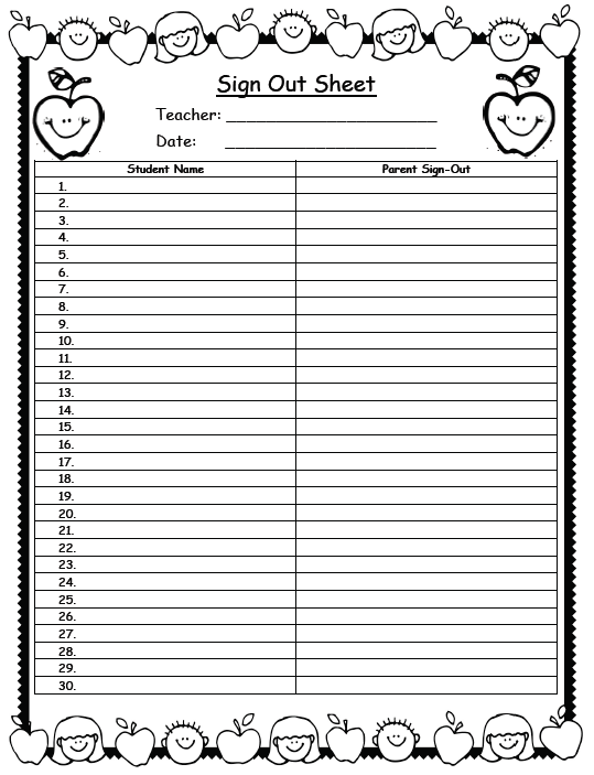 Sign out clipart jpg black and white library Sign Out Sheet Clipart | 2016 .. For sure | Sign out sheet ... jpg black and white library