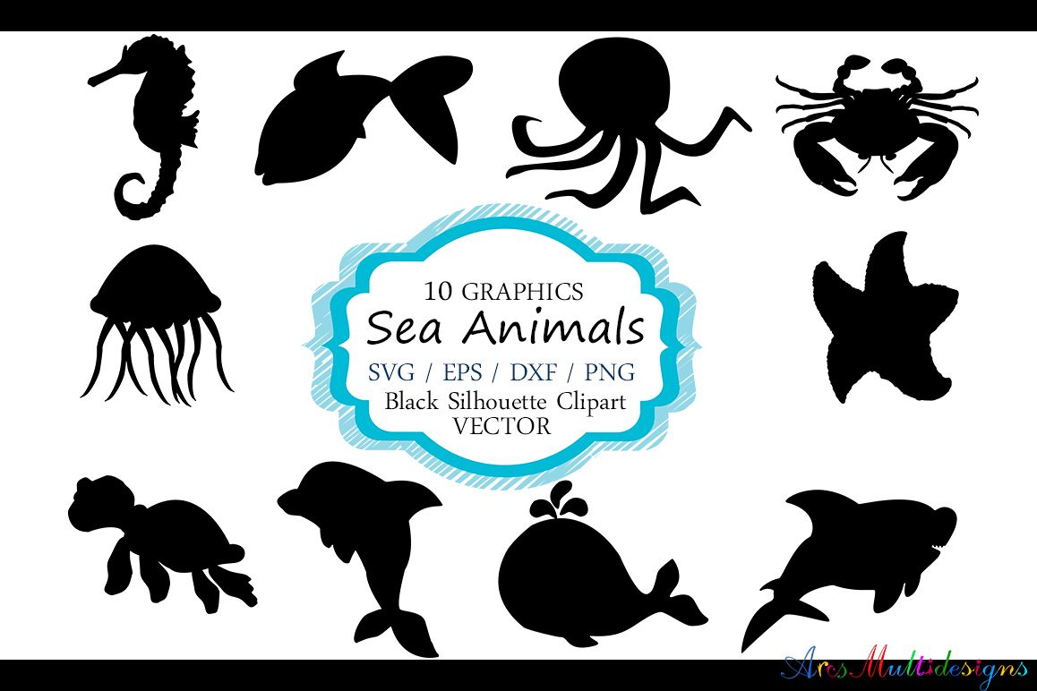 Silhouette clipart animals graphic free stock Sea animals silhouette vector sea animal sea animal SVG file EPS vector sea  animals clipart graphic free stock