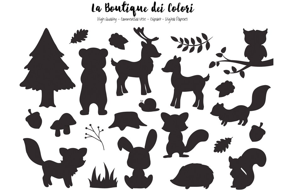 Silhouette clipart animals transparent stock Silhouette Woodland Animal Clipart transparent stock