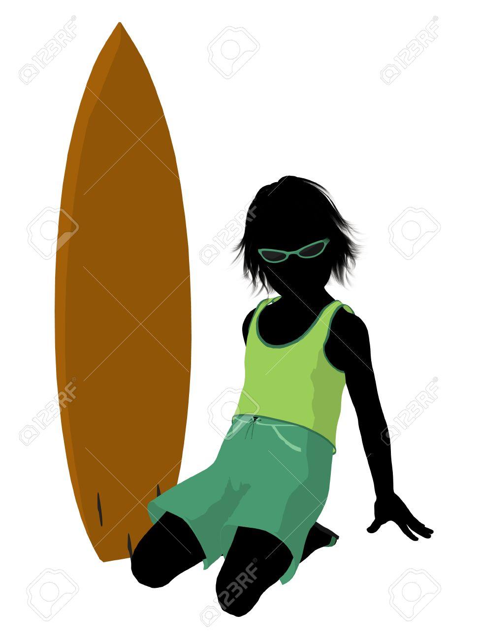 Silhouette boy surfboard clipart graphic Beach Boy With Surfboard Illustration Silhouette On A White ... graphic