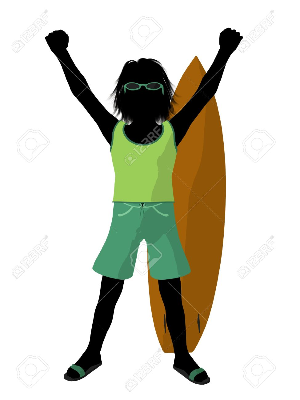 Silhouette boy surfboard clipart transparent stock Beach Boy With Surfboard Illustration Silhouette On A White ... transparent stock