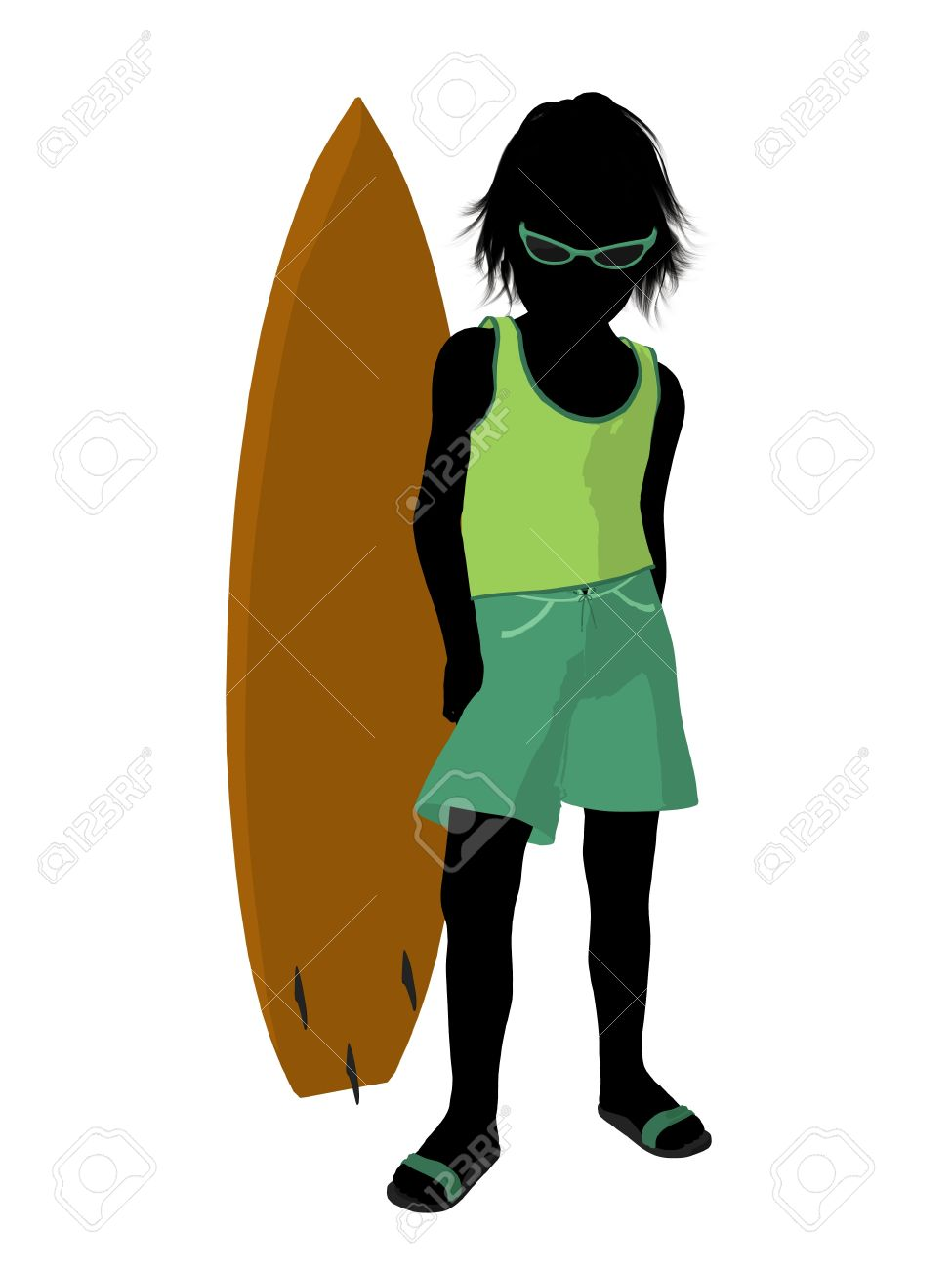 Silhouette boy surfboard clipart vector free download Beach Boy With Surfboard Illustration Silhouette On A White ... vector free download
