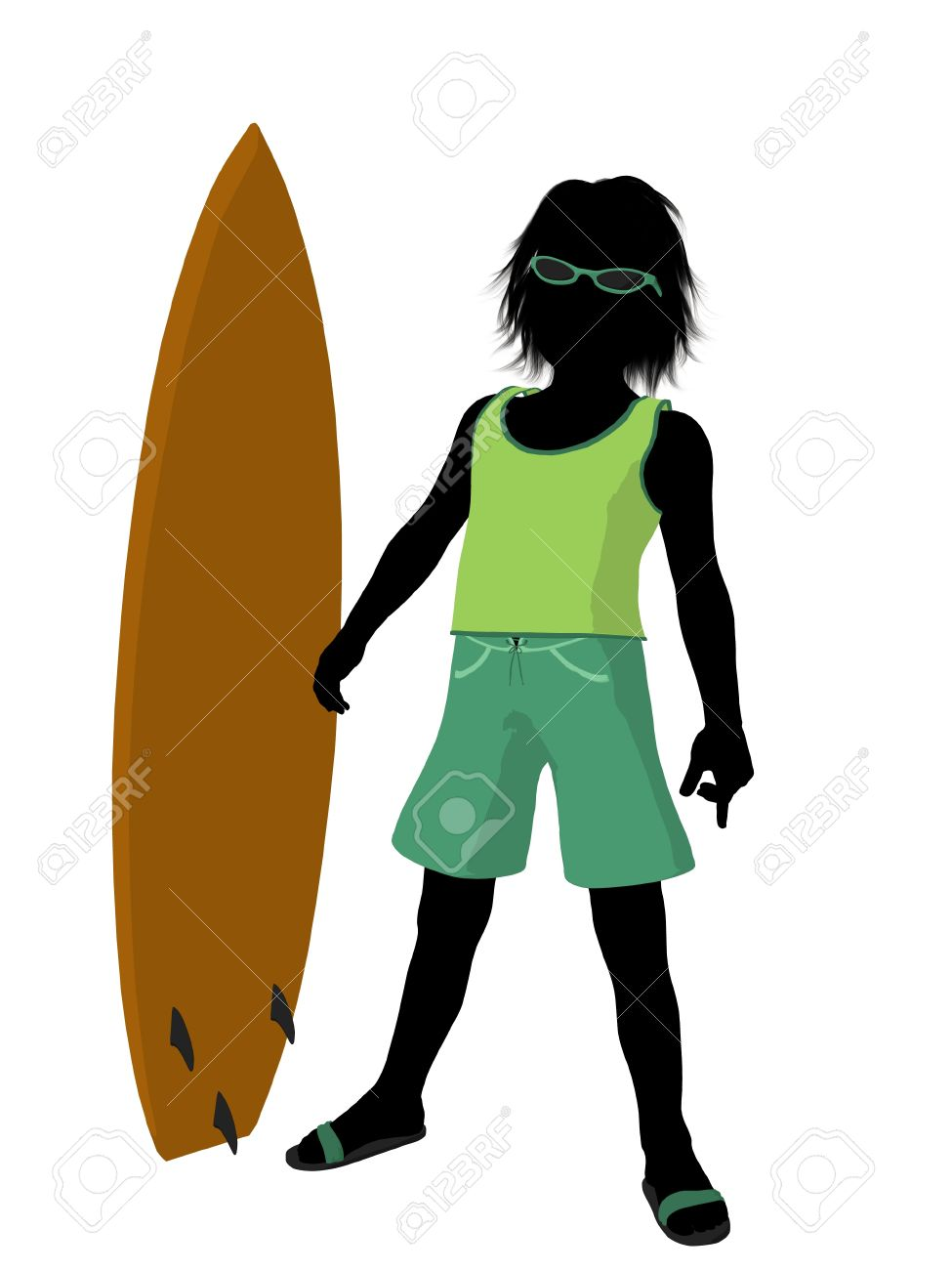 Silhouette boy surfboard clipart picture royalty free stock Beach Boy With Surfboard Illustration Silhouette On A White ... picture royalty free stock