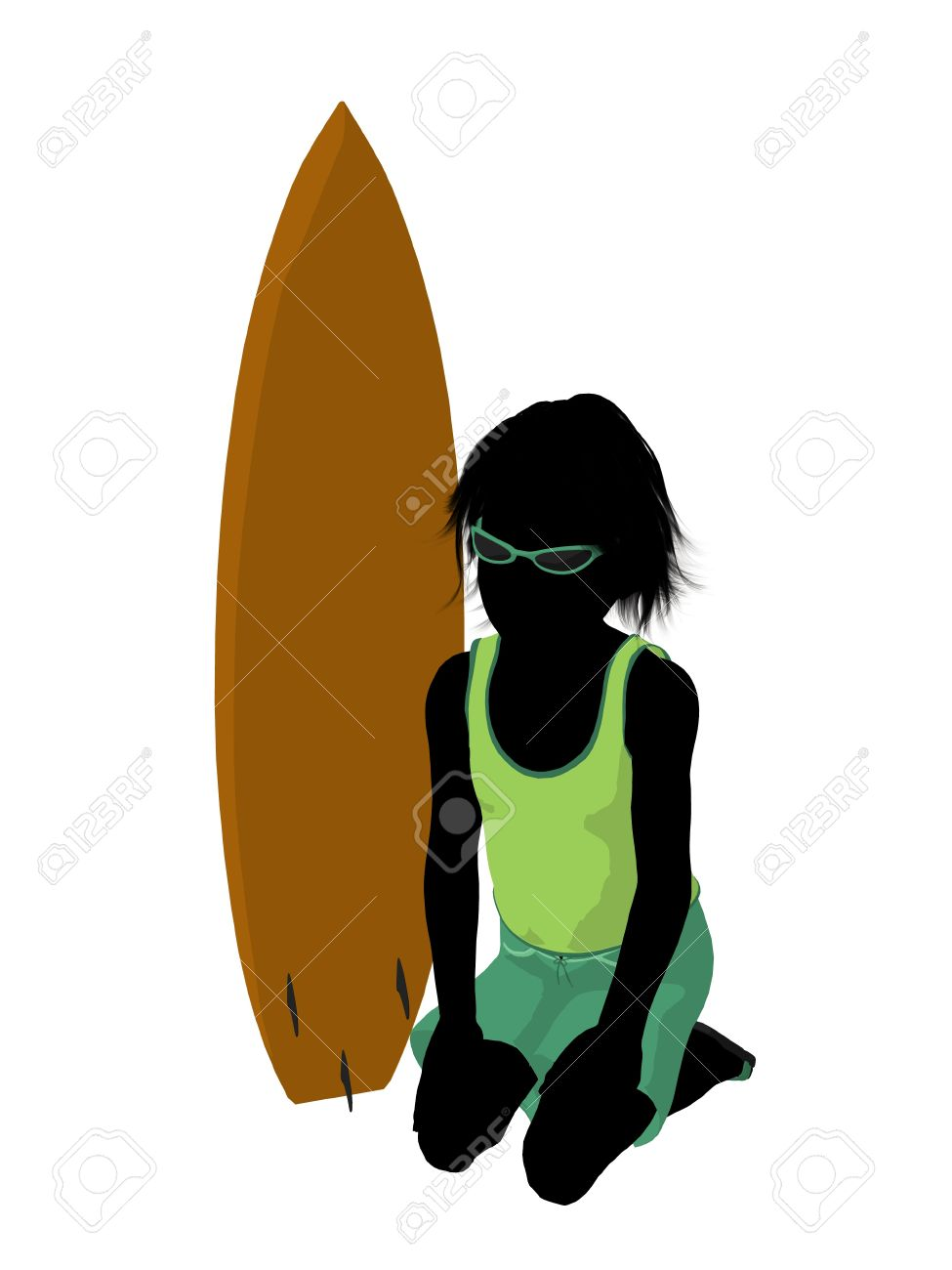 Silhouette boy surfboard clipart graphic black and white Beach Boy With Surfboard Illustration Silhouette On A White ... graphic black and white