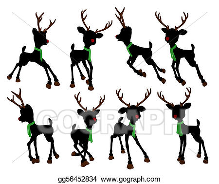 Silhouette clipart rudolph red nosed reindeer png library download Stock Illustration - Rudolph the red nosed reindeer ... png library download