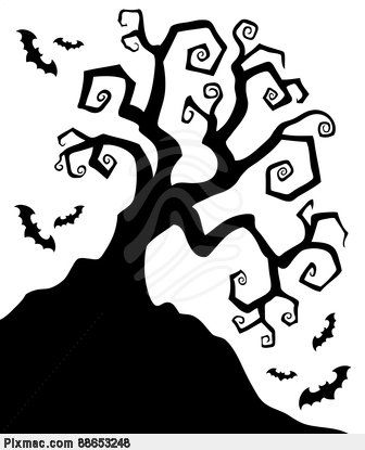 Silhouette clipart spooky png freeuse download Halloween Silhouettes | Spooky silhouette of Halloween tree ... png freeuse download