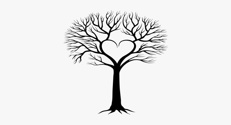 Silhouette family tree clipart black and white banner transparent download Tree Heart Transparent Wide Canvas Black - Silhouette Family ... banner transparent download