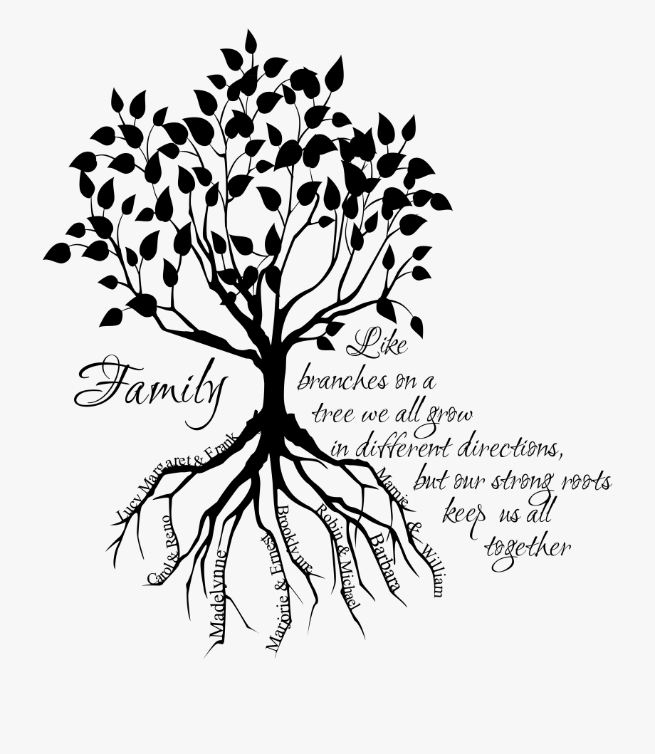 Silhouette family tree clipart black and white freeuse library Family Tree Clipart Black And White - Family Tree With Roots ... freeuse library