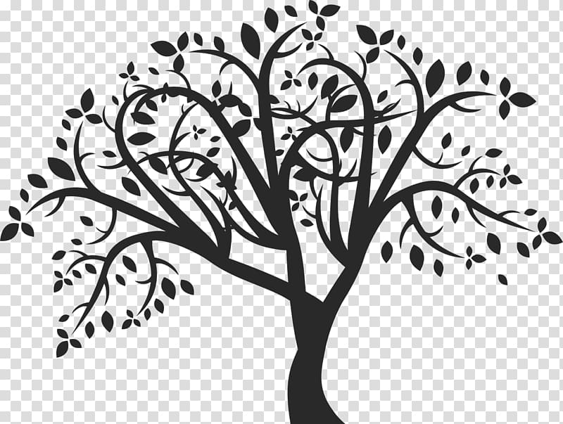 Silhouette family tree clipart black and white png library library Silhouette of tree illustration, Tree Silhouette , family ... png library library