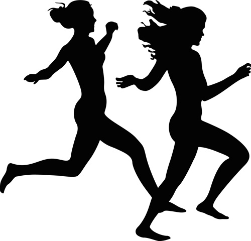 Silhouette girl running clipart png free Girl running woman running silhouette free vector download 7 ... png free