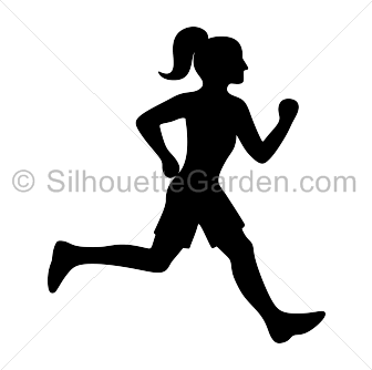 Silhouette girl running clipart png Running Girl Silhouette png