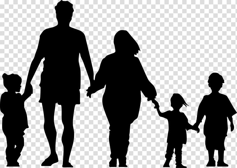 Silhouette of family clipart graphic royalty free library Family Silhouette Holding hands , Family transparent ... graphic royalty free library