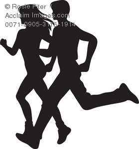 Silhouette runner clipart banner free library Clip Art Illustration of a Couple Running Silhouette banner free library