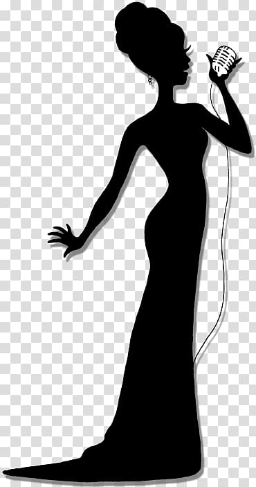Silhouette singer clipart image black and white library Silhouette of woman singing , Silhouette Singing Singer ... image black and white library