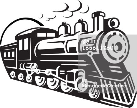 Silhouette train clipart black and white banner royalty free library Line Art Graphic of steam train emerging from a tunnel ... banner royalty free library