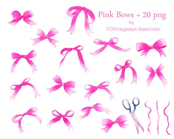 Silk bow clipart png library library Pink ribbon clipart, pink bow clipart, pink bow watercolor ... png library library
