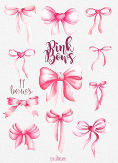 Silk bow clipart jpg library download Pink Bows Watercolor Handpainted Clipart, silk bow, romantic ... jpg library download