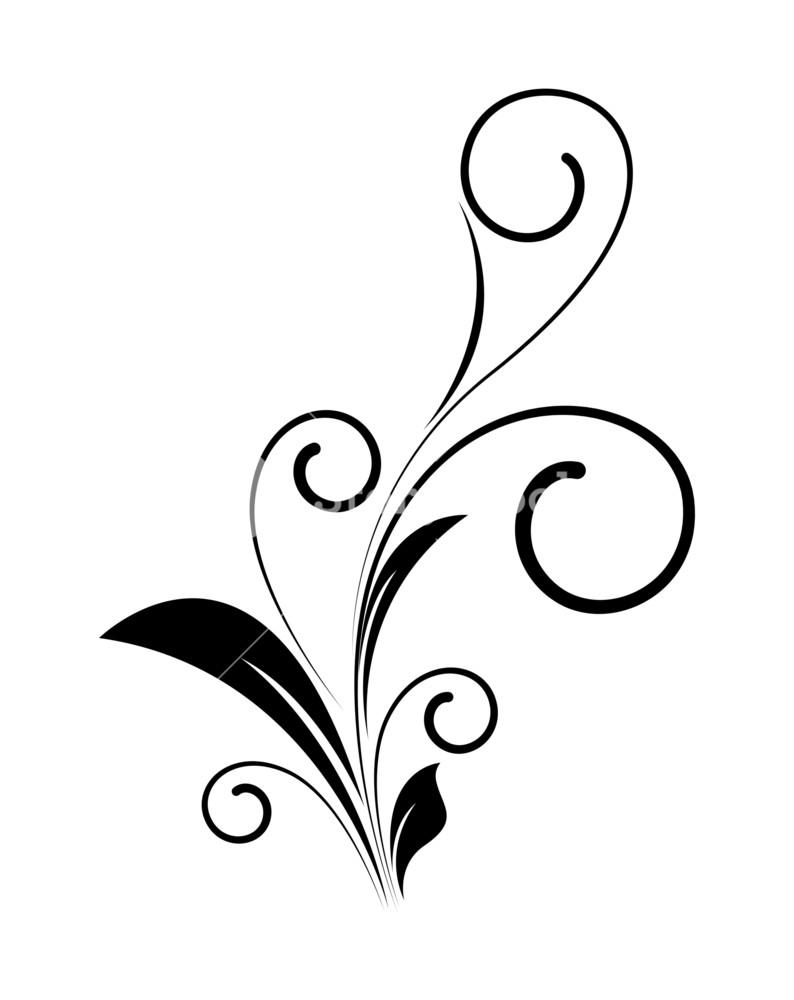 Sillhouette clipart swirl line clip transparent download Decorative Swirl Floral Silhouette Vector Royalty-Free Stock ... clip transparent download