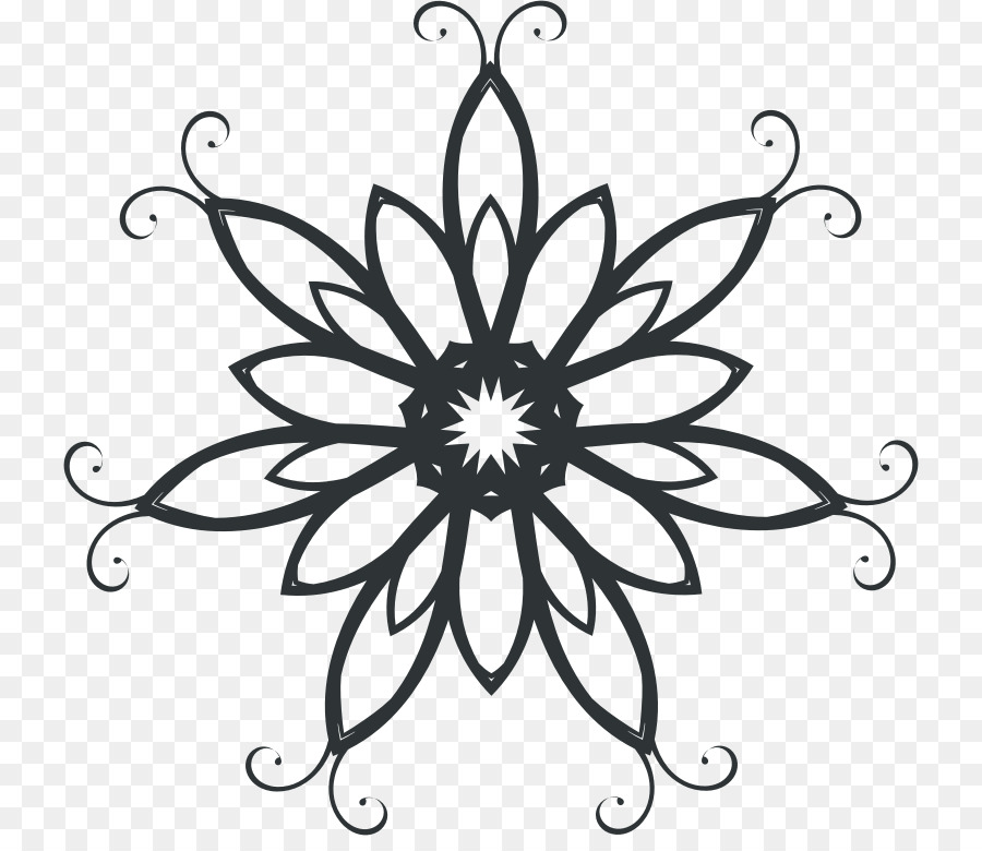 Sillhouette clipart swirl line image transparent download Black And White Flower png download - 784*766 - Free ... image transparent download