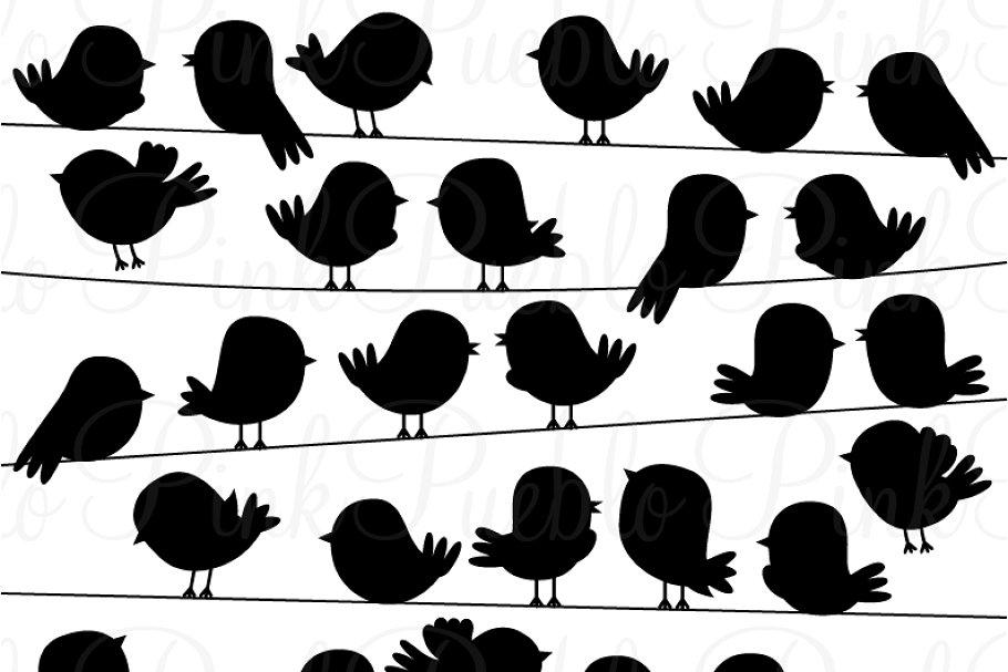 Sillouttes clipart clip art free Cute Bird Silhouettes Clipart Vector clip art free