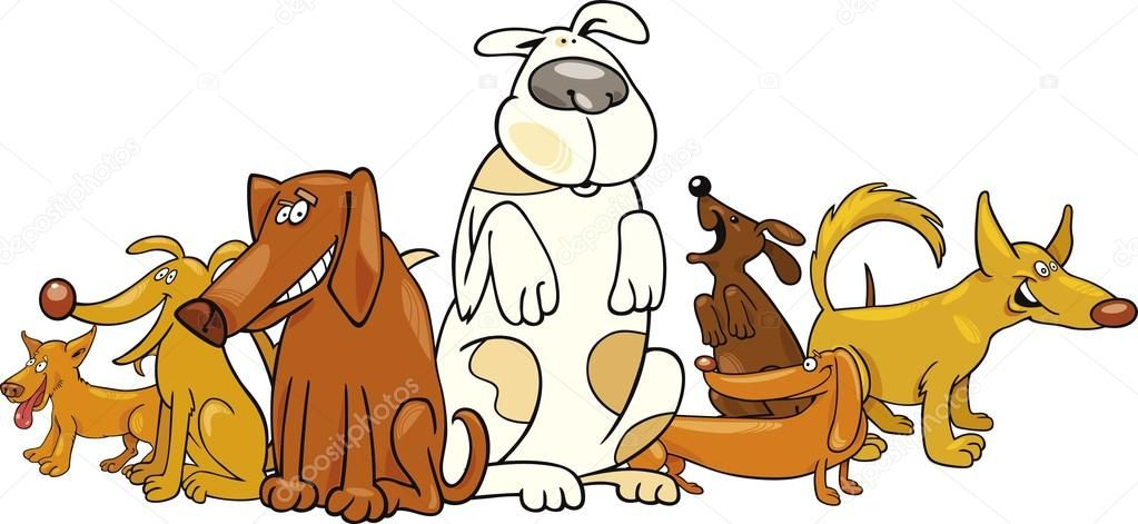 Silly puppy clipart image free whimsical dog group clipart | Group of funny dogs — Stock ... image free