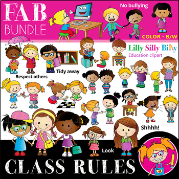 Silly week clipart clip free library Classroom rules FAB BUNDLE - B/W & Color clipart {Lilly Silly Billy} clip free library