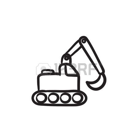 Sillybackhoe clipart svg black and white stock cartoon backhoe: Excavator vector sketch icon isolated on ... svg black and white stock