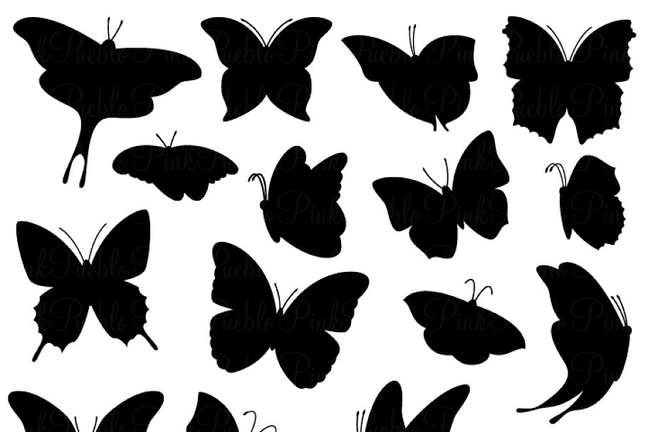 Silouhuette clipart png free stock Butterfly Silhouette Clipart/Vectors png free stock