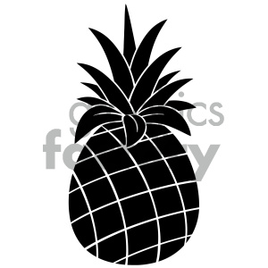 Silouhuette clipart clip art freeuse download Royalty Free RF Clipart Illustration Pineapple Fruit Black And White  Silhouette Simple Design Vector Illustration Isolated On White Background  ... clip art freeuse download