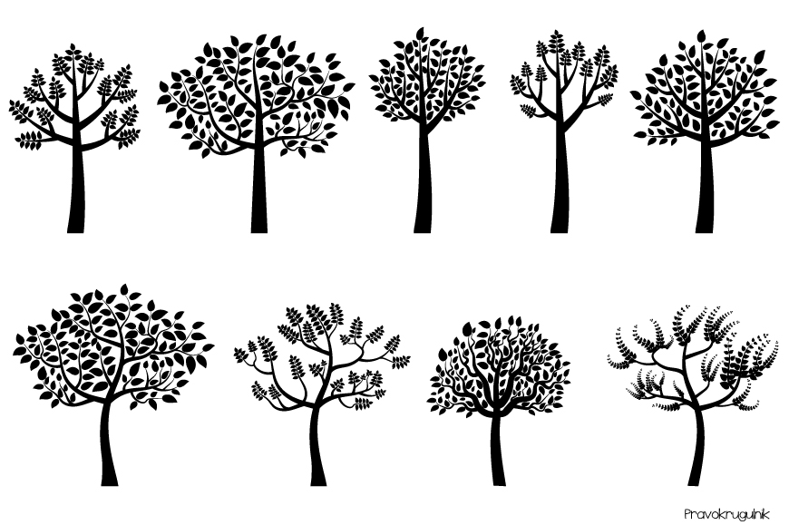 Silouhuette clipart banner library download Black tree silhouette clipart, Trees with leaves clip art banner library download