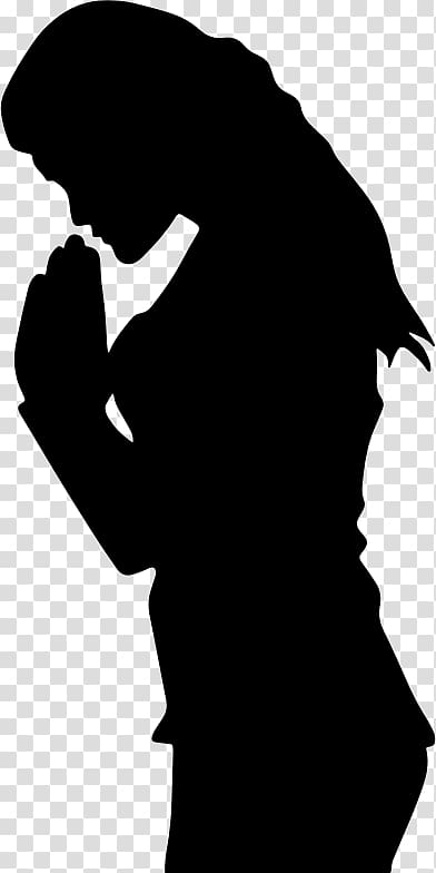Silouttet clipart black woman kneeling in prayer png black and white library Prayer Woman Praying Hands Silhouette , praying transparent ... png black and white library