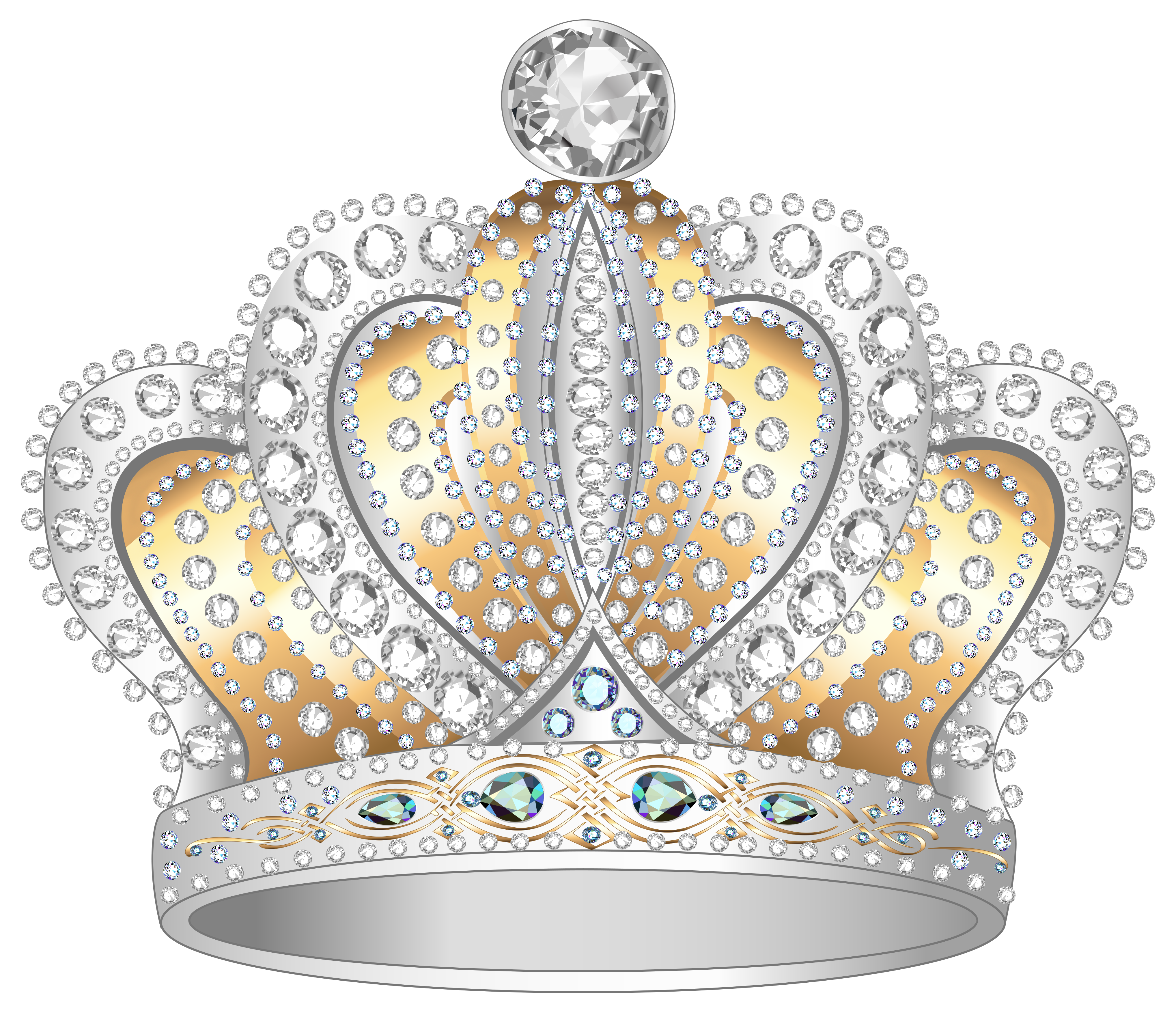 Silver and gold clipart clip black and white Silver Gold Diamond Crown PNG Clipart Image | Gallery ... clip black and white